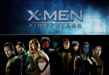 X-Men: First Class, featuring Magneto, Emma Frost, Angel, Mystique, Professor X, Banshee, Moira MacTaggert, Beast, Havok, and Nightcrawler's dad.